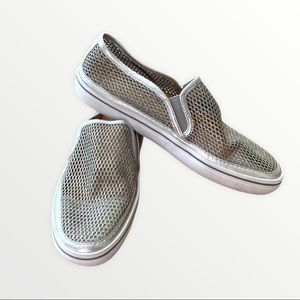 Kate Spade Silver Perforated Slip On Sneakers
